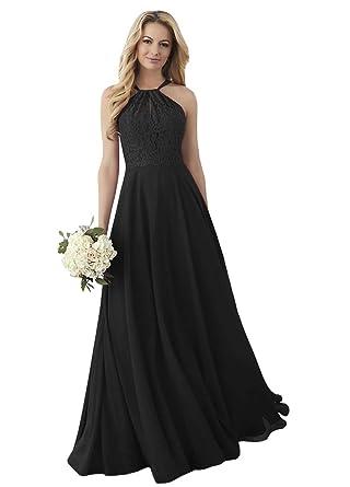 d7fb19fff1dd Women's Halter Evening Party Dress Lace Chiffon Formal Wedding Guest Party  Gown Black,2