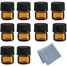 Simple-e 50pcs 1ml (1/4 Dram) Amber Mini Glass Bottle 1cc Amber Sample Vial Small Essential Oil Bottle Travel Must + 1pc Glass Clean Cloth