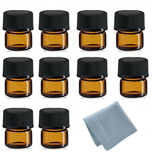 SIMPLE-E 100pcs 1ml (1/4 dram) Amber Mini Glass Bottle 1cc Amber Sample Vial Small Essential Oil Bottle Travel Must + 1PC Glass clean cloth 100 Amber Mini