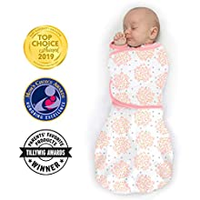 SwaddleDesigns Omni Swaddle Sack with Wrap and Arms Up Sleeves & Mitten Cuffs, Heavenly Floral, Pink, Small, 0-3 Months