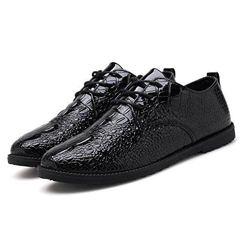 de Serpiente PU la Zapatos Mocasines con de Loafer de Color Hombre de Zapatos Zapatos shoes Oxford sólido Cuero Plano los de Hombres tacón para 2018 Shufang Hombres Negro los de del de de de Cordones Piel 4PvwY