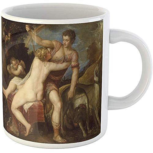 Funny Gift Coffee Mug Venus and Adonis By Titian 1545 75 Italian Renaissance Painting Oil on Canvas 11 Oz Ceramic Coffee Mug Tea Cup Souvenir