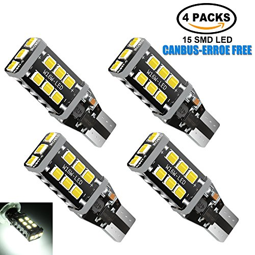 4Pcs 921 912 LED Backup Reverse Bulbs, Super Bright Non-Polarity Canbus Error Free T15 906 W16W Car LED Bulbs Only for Reverse Backup Lights, 6000K-White