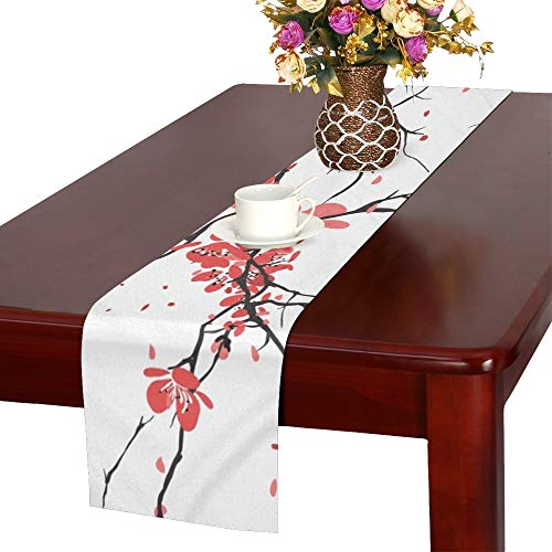 WHIOFE Cherry Sakura Table Runner, Kitchen Dining Table Runner 16 X 72 Inch for Dinner Parties, Events, - Event Blossom