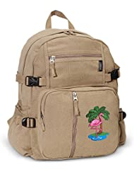 FLAMINGO Backpack Canvas Pink Flamingos Travel or School Bag