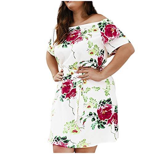 Mikilon Women's Off Shoulder Strapless Floral Ruffle Mini Plus Size XL-5XLSwing Dresses with Belt - Paisley Belt Belted