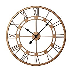 Decorlives 20 inch Copper Color Live Large Roman Wall Clock Handmade Wall Sculpture Art