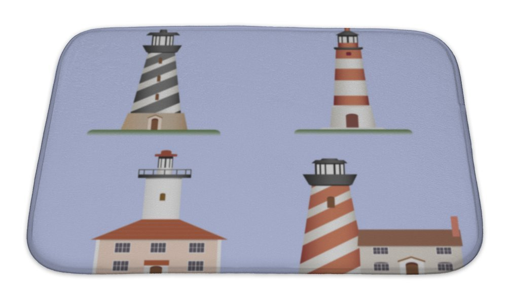 "Gear New Lighthouses Bath Mat, Microfiber, Foam With Non Skid Backing, 24""x17"", GN2220448"