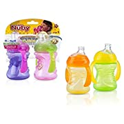 Nuby 2-Pack Two-Handle No-Spill Super Spout Grip N' Sip Cups, 8 Ounce (Multicolor)