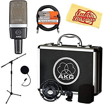 Image of AKG C214 Large-Diaphragm Condenser Microphone Bundle with Boom Stand, Pop Filter, XLR Cable and Austin Bazaar Polishing Cloth