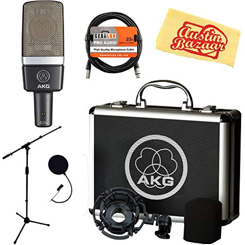 (AKG C214 Large-Diaphragm Condenser Microphone Bundle with Boom Stand, Pop Filter, XLR Cable and Austin Bazaar Polishing Cloth)