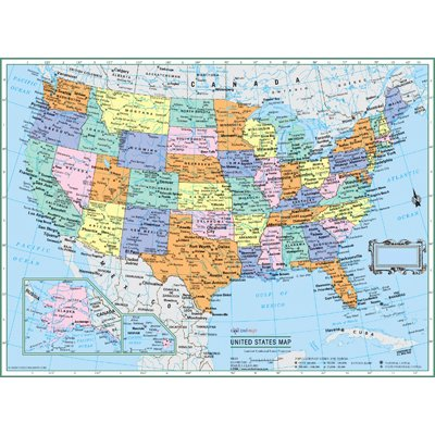 CoolOwlMaps Untited States Wall Map Political USA Color Poster W22