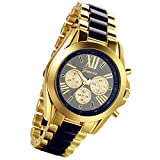 Lancardo Luxury Men Classic Stainless Steel Gold Dial Quartz Analog Bangle Wrist Watch with 3 Sub-Dials(Black)