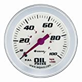 Equus 8444 2-5/8'' Mechanical Oil Pressure Gauge, White with Aluminum Bezel