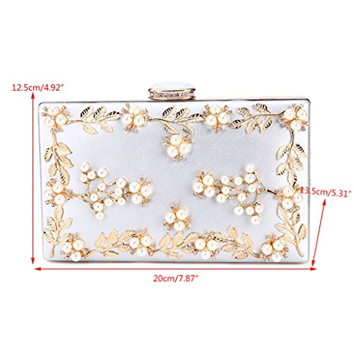 Gold Pearl Clutch bags JAGENIE Silver Evening Beaded Noble Wedding Party Bridal Purse Women's XXqRPw