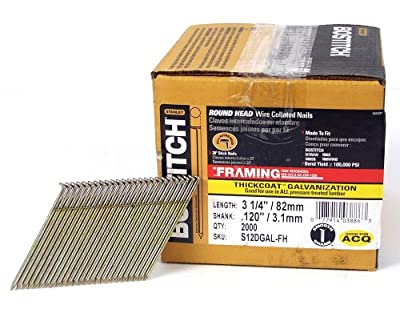 BOSTITCH S12DGAL-FH 28 Degree 3-1/4-Inch by .120-Inch Wire Weld Galavanized Framing Nails (2,000 per Box) by Bostitch