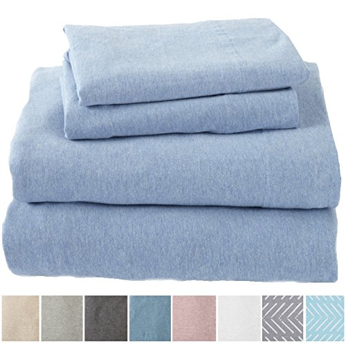 Great Bay Home Extra Soft Heather Jersey Knit (T-Shirt) Cotton Sheet Set. Soft, Comfortable, Cozy All-Season Bed Sheets. Carmen Collection Brand. (Full, Sky Blue)