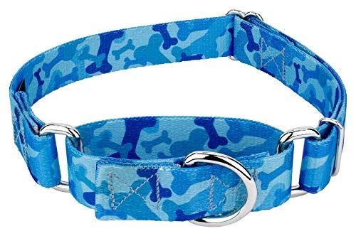 Country Brook Design Blue Bone Camo Martingale Dog Collar-L