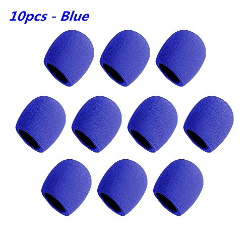 - Foam Ball-Type Mic Windscreen, FuzzyGreen Pack of 10 PCS Blue Set Handheld Stage Microphone Sponge Foam Cover Shield Protection