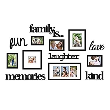 13-Piece  Family Is  Photo Frame Set made in Plastic construction with satin black finish