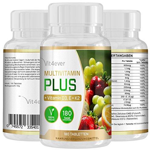 Multivitamin Plus, 180 Tabletten, hochdosierte Vitamine A B1 B2 B2 B3 B5 B6 B7 B12 D3 K2 E C, Zusätzlich Vitamin D3, K2 und Vitamin E enthalten