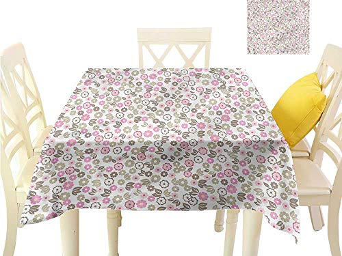 Jacquard Tablecloth Flower,Autumn Wildflowers Country Table Cloths Spill Proof W 70