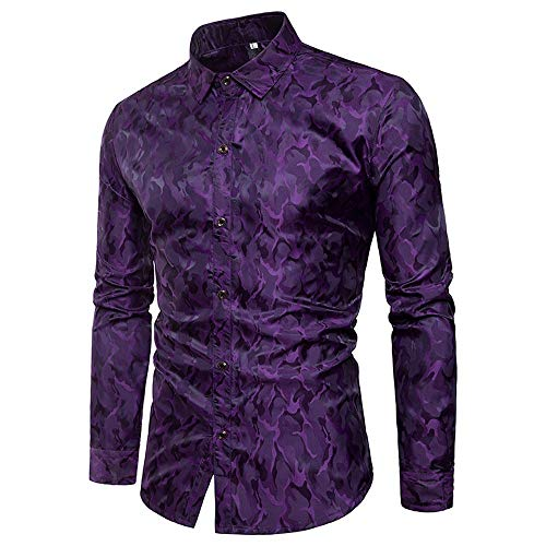 Mnowson Mens Hipster Printed Slim Fit Long Sleeve Dress Shirts/Prom Performing Shirts Purple