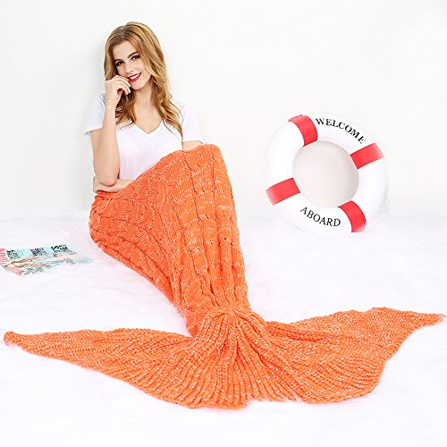 Merssyria Mermaid Tail Blanket,Handmade Crochet Blankets with Vacuum Waterproof Package,Sleeping Bag for kids and Adults, All Seasons Use in Bed,Sofa …