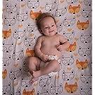 """Set of 2 - 100% ORGANIC cotton GIANT muslin baby swaddle blankets - 47"""" x 47"""" - """"Funky Fox"""" by Mowgli Joe"""