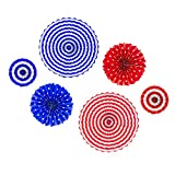 Patriotic Round Folding Hanging Paper Fans USA Red White Blue American Flag Design for Porch Tree Home Decoration, Party Supplies, (6 Pack) by Super Z Outlet