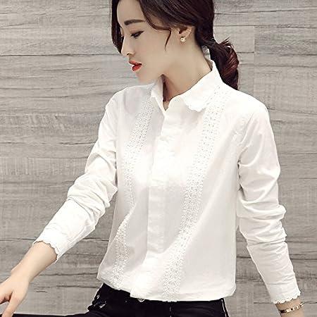 XXIN La Camisa Blanca Long-Sleeved Femenina Puntilla Puntilla ...