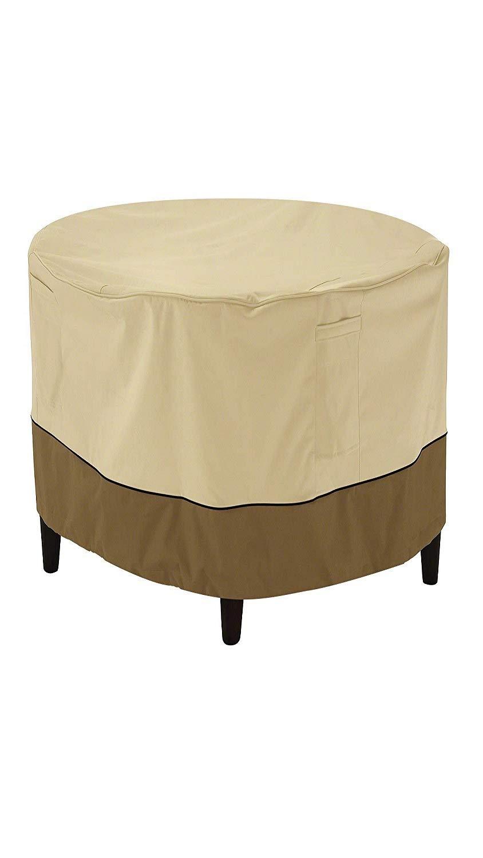 Classic Accessories Veranda Round Patio Ottoman/Coffee Table Cover, Medium