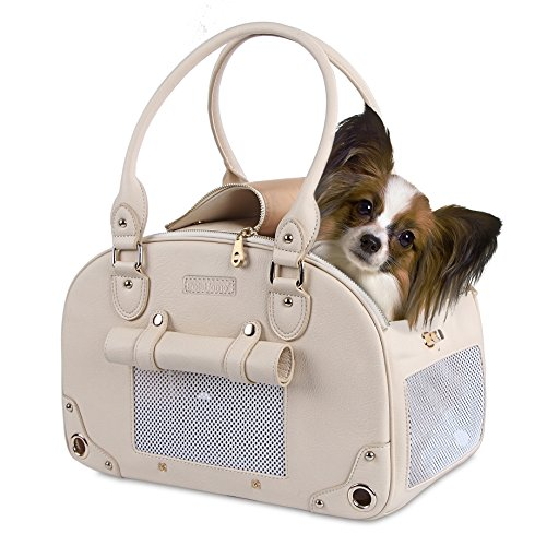 Dog Carrier, Pet Carrier, PetsHome Waterproof Premium Leather Pet Travel Portable Bag Carrier for Cat and Small Dog Home& Outdoor-A Small Beige