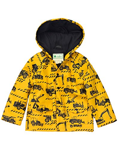 OAKI Children's Rain Jacket, Construction Vehicles 3T Toddler