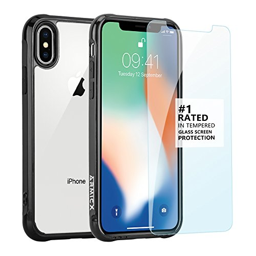 iPhone X Case, ARMICX Full Protection Body Kit With [Anti-scratch Tempered Glass] Screen Protector [Front Facing Speaker Cutout Technology] Slim Hybrid Plus Shock Absorption For Apple iPhone X (2017)