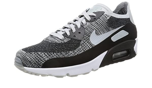 Mens Air Max 90 Ultra 2.0 Flyknit Running Shoes BlackWolf GreyPure Platinum 875943 005 Size 9.5