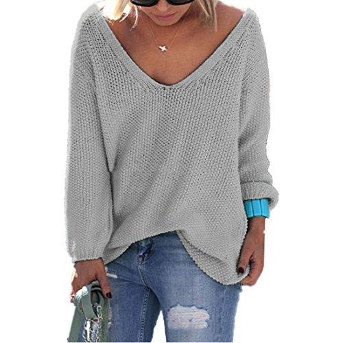 ASCHOEN Damen Pullover mit V Ausschnitt Pulli Casual Langarm Tops Sweatshirt Grau XL