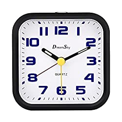 DreamSky Analog Alarm Clock with Snooze and Nightlight, Non Ticking, Battery Operated, Ascending Beep Alarms, Simple Compact Alarm Clcok for Kids Bedroom Travel