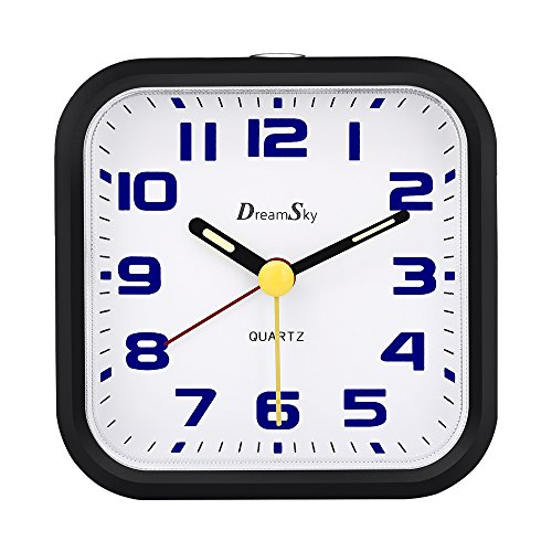 DreamSky Non Ticking Analog Alarm Clock With Snooze And Nightlight , Battery Operated , Ascending Beep Alarms . Simple Compact Travel Alarm Clcok . (medium)