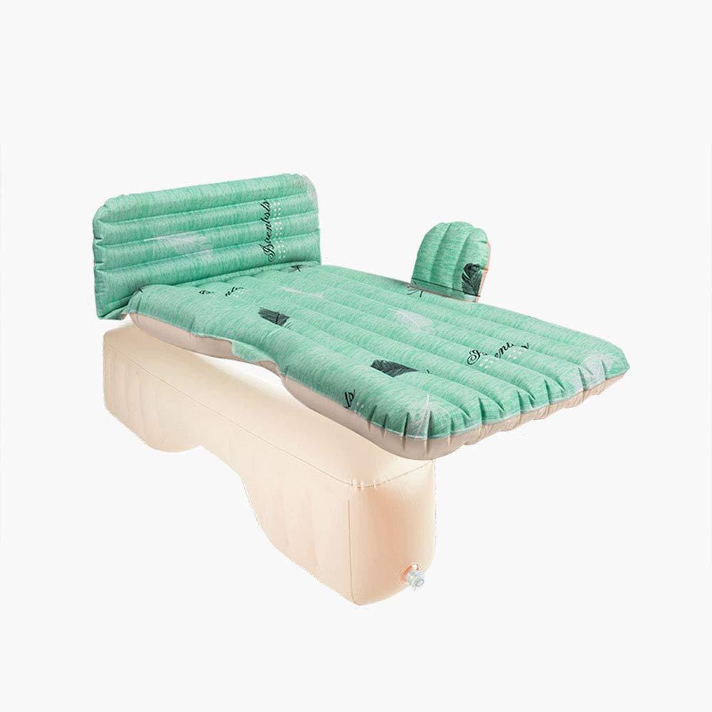 Multifunktionale Camping-Car-Luftattress Outdoor Inflatable Car Air Bett Seat mit Luftpumpe Zwei Kissen für Reisen (grün)