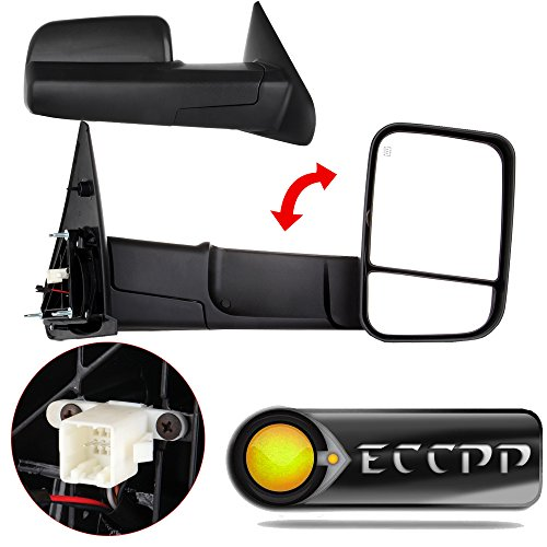 (ECCPP Towing Mirrors Tow Mirrors Replacement fit for 2002-08 Dodge Ram 1500 2500 Pickup Power Heated Towing Side Mirrors Pair Set Passenger & Driver Side View )