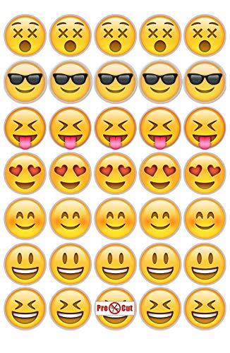 35 X Pre Cut Emoji Kuchen Cupcake Topper Dekoration Essbar Wafer