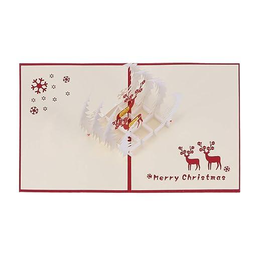 Vosarea Tarjetas de Navidad 3D Pop-up Tarjetas de venado de ...