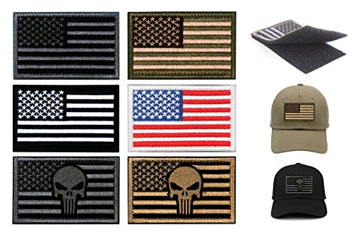 Tactical Patches of USA US American Flag Punisher Skull, wit