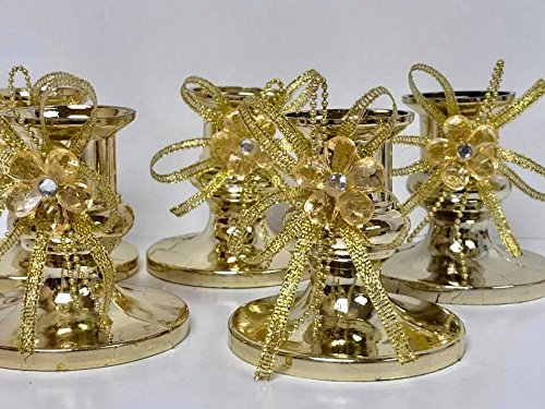 16 Gold Candle Holder Favor with Gold Flower Decoration for Sweet 16 Wedding All Occasions