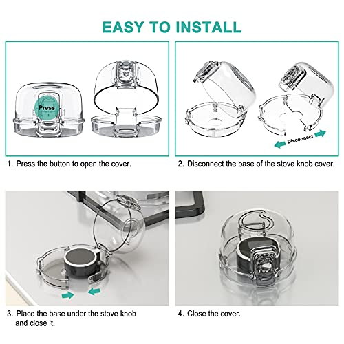 5102cafe4LS Stove Knob Covers for Child Safety (5 + 1 Pack) Double-Key Design and Upgraded Universal Size Gas Knob Covers Clear View Childproof Oven Knob Covers for Kids, Babies    Product Description