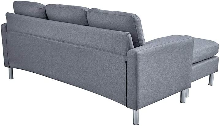 Panana Modern 3 Seater Sofa Linen Fabric L Shaped Group Settee Couch Left or Right Hand Side Living Room Grey Linen Fabric Grey