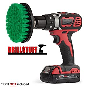 Quick Change Shaft Green-Medium Drill brush- Power Scrubbing Brush Drill Attachment for Cleaning Showers, Tubs, Bathrooms, Tile, Grout, Carpet, Tires, Boats by Drillstuff