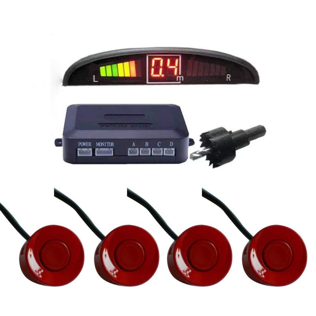 Sonmer Car Reversing Parking Radar Sensor, With 4 Sensors Audio Buzzer Sound Alarm (Red)