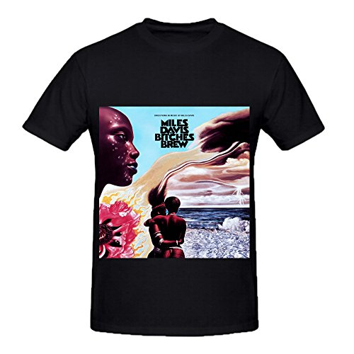 Miles Davis Bitches Brew Funk Album Cover Mens Crew Neck Music T Shirt Black - Tabasco Head Cover